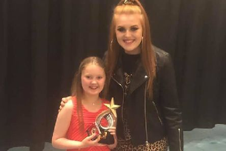 Aimee Bryceland (right) was invited to be a special guest at the Kilsyth Civic Week talent show, and is pictured with overall winner Bronagh Cullen
