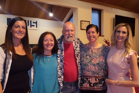 Cumbernauld Gaelic Choir members (l-r) Rachael Deans, Rhona Morrison, John Deans and Emma Deans) with Alba conductor Joy Dunlop