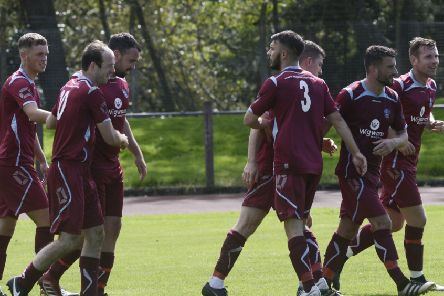 Cumbernauld celebrate Scott Thomson's equaliser, but Whitletts hit back with a winner (pic: Morwood Photography)