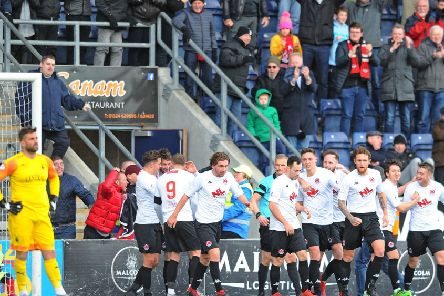Clyde celebrate their Darren Smith's winner at Falkirk (pic: Michael Gillen)