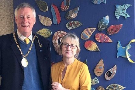 Provost Bill Howatson with care home manager Michelle Riddock