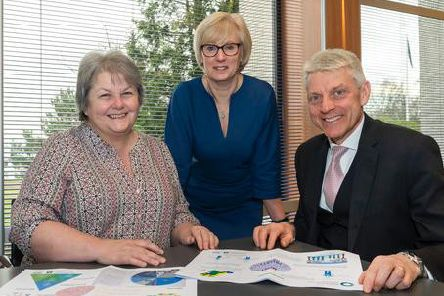 Pictured (left to right) are vice-chair of the IJB, Cllr Anne Stirling, chair of IJB,  Rhona Atkinson and chief officer of the Aberdeenshire Health & Social Care Partnership, Adam Coldwells. I
