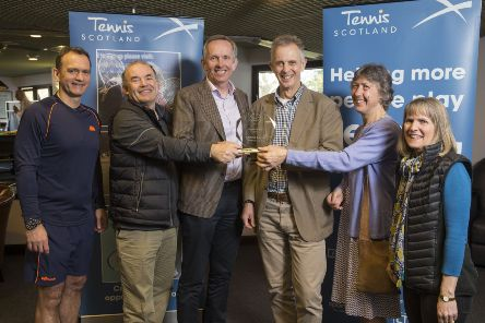 Aboyne TC are Scottish Club of Year 2018. L to r, Tennis Scotland CEO Blane Dodds (far left) with Aboyne staff Andrew Fyfe, Alan Curran, Brian Howell, Carol Bisset and Christine Fyfe.