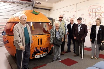 Sight loss visitors during their tour of Grampian Transport Museum at Alford