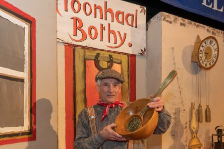 Hector Riddell enjoys his win at the bothy ballads competition