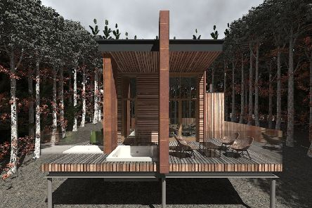 An image of the proposed holiday cabins