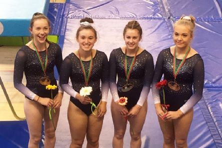 Banchory members Kim Beattie (centre left) and Morgan James (centre right) as part of the bronze medal winning Scotland team at the Loule Cup.