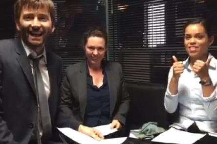 David Tennant and his Broadchurch colleagues Olivia coleman and Georgina Campbell choose the winning cards. Picture: contributed