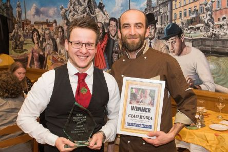 Danilo Argano, supervisor, and Martino Lupoli, head chef,' with their Italian Restaurant of the year certificate. Picture: Ian Georgeson