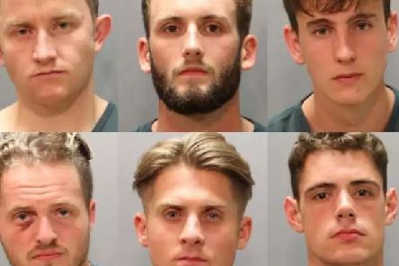 The six British sailors arrested in Jacksonville, Florida. Picture: Jacksonville Police/Portsmouth News