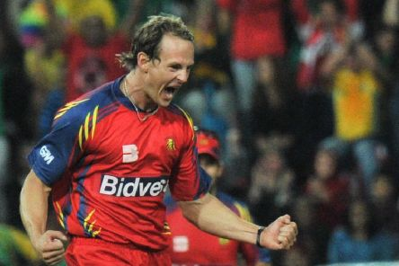 Shane Burger celebrates the dismissal of Sachin Tendulkar during a Champions League Twenty20 match between Mumbai Indians and Lions in September 2010. Picture: Getty Images