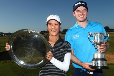 David Law with women's winner Celine Boutier