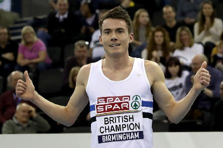 Chris O'Hare celebrates winning the Men's 3000 metres during day two of the SPAR British Athletic Indoor Championships at Arena Birmingham. Picture: Simon Cooper/PA Wire