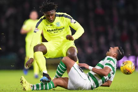 Hibs' Darnell Johnson was banned by the compliance officer for two matches after this tackle on Celtic's Emilio Izaguirre was reviewed. Pic: SNS