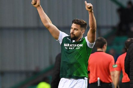 Darren McGregor shows his appreciation to the Hibs support after the 2-0 win over Hamilton