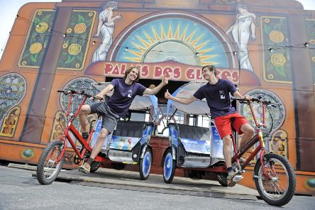Picture shows rickshaw riders , Dave Tompkins and Chris Gibb , in front of the Spiegeltent at Fringe by the Sea in North Berwick. Pic: Phil Wilkinson