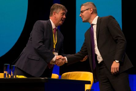 Keith Brown and Derek Mackay. Photo by Andrew MacColl/REX/Shutterstock