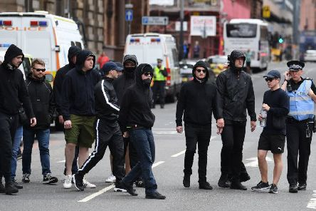 Police dealt with an SDL protest in Glasgow last summer. Picture: TSPL