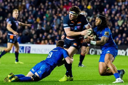 Hamish Watson holds off Leinster pair Luke McGrath and Joe Tomane in Edinburgh's 28-11 win over the Irish side on PRO14 duty. Picture: SNS Group