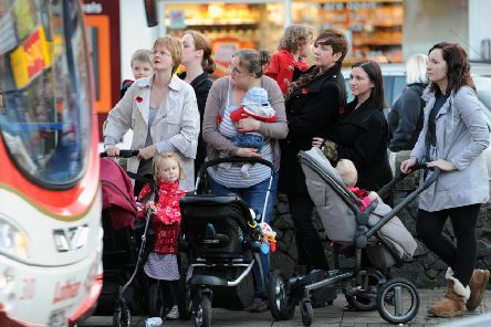 A group of mothers pictured waiting in St Johns Road, Corstorphine.  Pic: Ian Rutherford