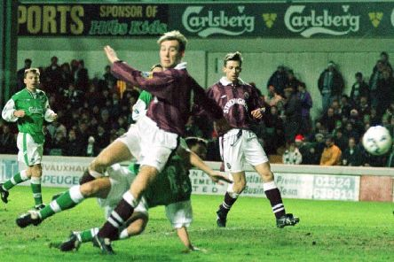 Jim Hamilton scores for Hearts at Easter Road