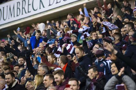 Hearts fans in the away end at Easter Road. Picture: SNS Group