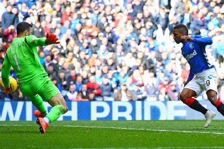 Jermain Defoe nets the only goal of the game for Rangers. Pic: SNS
