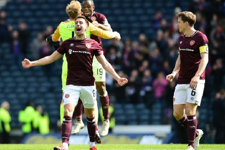 Olly Lee celebrates after the Scottish Cup semi-final victory over Inverness.