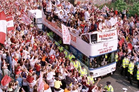 Hearts parade the Scottish Cup through Gorgie in 1998
