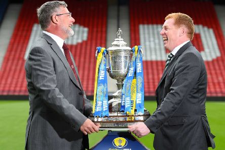 Hearts manager Craig Levein shares a joke with Celtic counterpart Neil Lennon ahead of tomorrow's final
