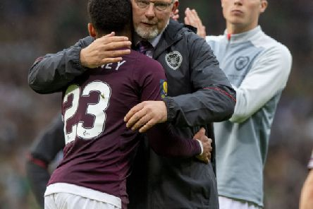 25/05/19 WILLIAM HILL SCOTTISH CUP FINAL'HEARTS v CELTIC'HAMPDEN PARK - GLASGOW'Hearts manager Craig Levein (left) with Jake Mulraney