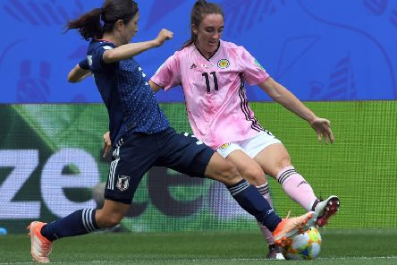 Lisa Evans is determined to claim three points against Argentina