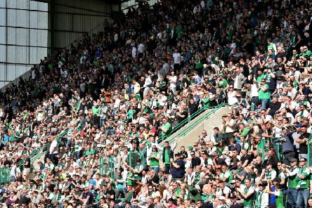 Hibs fans at Easter Road.