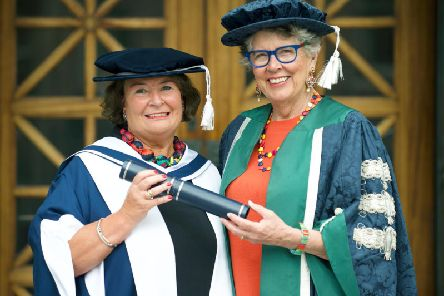 Mairi O'Keefe and Prue Leith who were awarded honorary degrees at Queen Margaret University (Photo: Queen Margaret University)