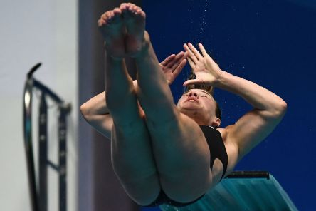 Grace Reid competes in the women's 3m springboard diving event during the 2019 World Championships in Gwangju. Pic: Getty