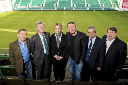 Founding directors of Hibernian Supporters Ltd pictured at Easter Road in 2015. (L/R) Gordon Smith, MSP for Edinburgh Eastern Kenny MacAskill, Hibs chief executive Leeann Dempster, Charlie Reid, Stephen Dunn and Jim Adie. Picture: SNS