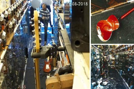 Rooney came into the store, picked up an acoustic guitar and smashed it against the floor before standing on the instrument. Pic: Crown Office.