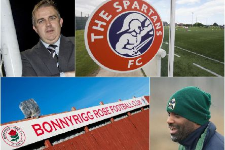 Clockwise from top left: Strollers boss Gary Jardine; Spartans' home ground; Edinburgh Uni boss Dorian Ogunro and Bonnyrigg Rose's home ground