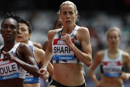 Lynsey Sharp competes in the Women's 800m event during the the IAAF Diamond League Anniversary Games athletics meeting at the London Stadium