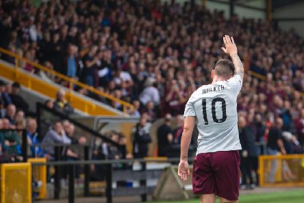 Jamie Walker takes the acclaim after putting Hearts 1-0 ahead at East Fife