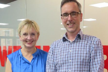 Niki McKenzie of Archangels with QueryClick's Chris Liversidge. Picture: contributed.