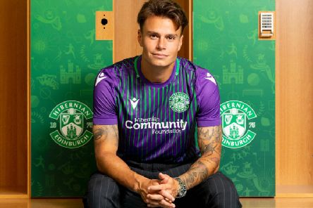 Melker Hallberg is unveiled as a Hibs player at the club's East Mains training complex