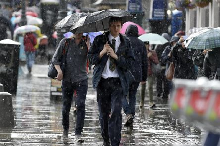 Experts at the Met Office predicting spells of heavy rain to hit the city throughout the afternoon.