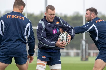 Lewis Carmichael, centre, suffered concussion and then a freak training ground accident