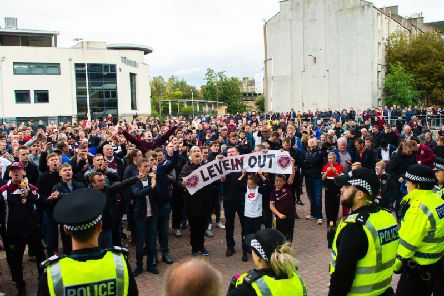 Hearts fans voice their displeasure after the game. Picture: SNS