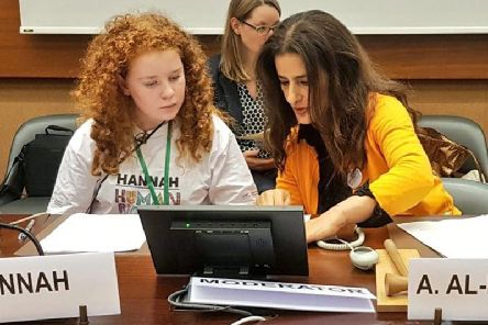 Hannah Richardson, from Tranent with UN Committee Member on the Rights of the Child Amal Al-Dossari.