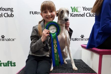 Skye Smith with her beloved canine Marvin at Crufts