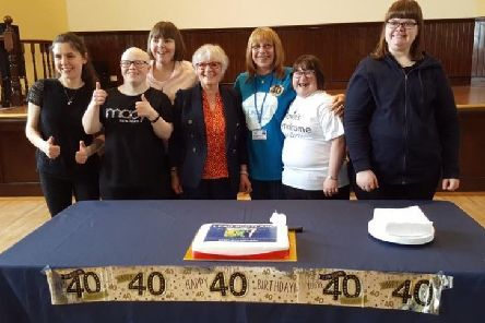 Members of Ellon Resource Centre with the Lead Scotland birthday cake