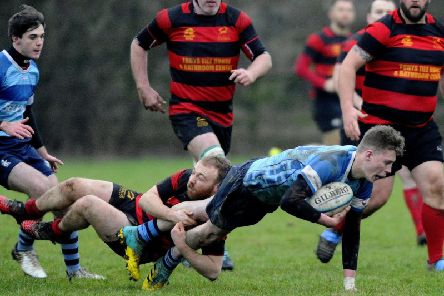 Action from Grangemouth's semi-final victory over Blairgowrie (Pic: Alan Murray)