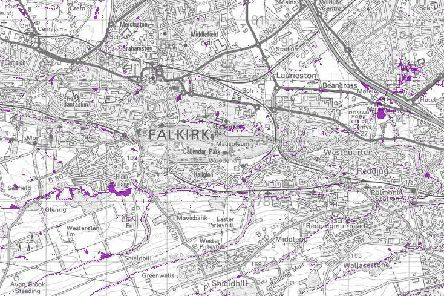 These are the 13 areas of Falkirk which have been identified as most at risk of surface water flooding
